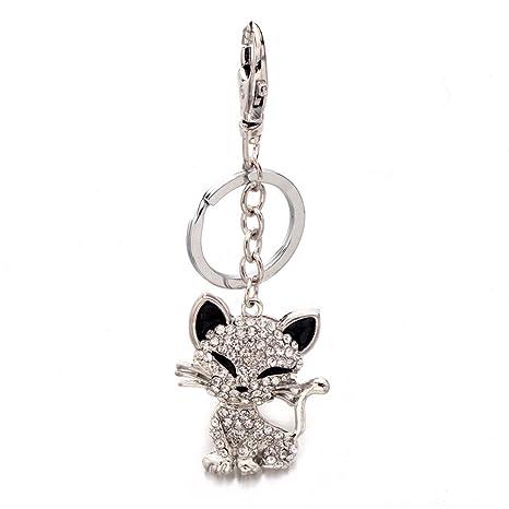 Amazon.com: liavy gato encanto moda llavero – vidrio ...
