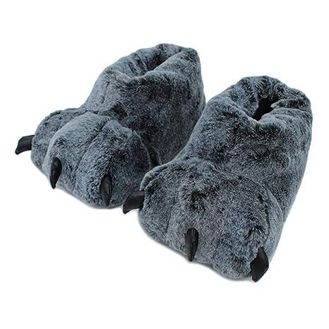 Botas antideslizantes para casa Personalidad Pata de lobo Diseño Invierno Cálido Zapatilla de interior Zapato corto