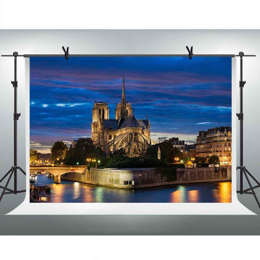 フランスパリ夜ビュー画像Backdrops for Photography 10 X 7ft城ブリッジ川背景テーマパーティー壁紙装飾Youtube背景写真ブース小道具FHzON gefh326   B07FSG21LK