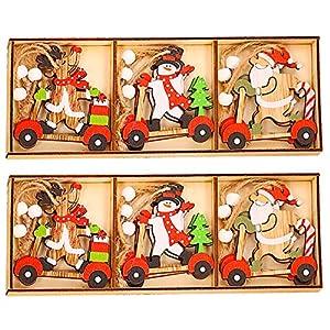 CHEPL Ciondolo in Legno di Natale 18 Pezzi Natalizi Addobbi Albero Ornamento in Legno Decorativi per Albero di Natale Fai da Te 8 spesavip