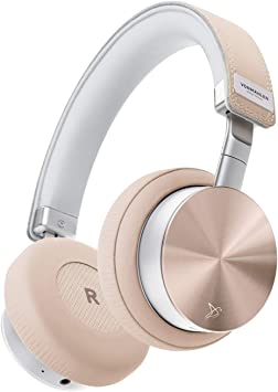Amazon Com Vonmahlen Wireless Concert One Wireless Bluetooth Headphones Genuine Leather On Ear Headphones W 21h Battery Life Travel Case And Mic Rose Gold Home Audio Theater