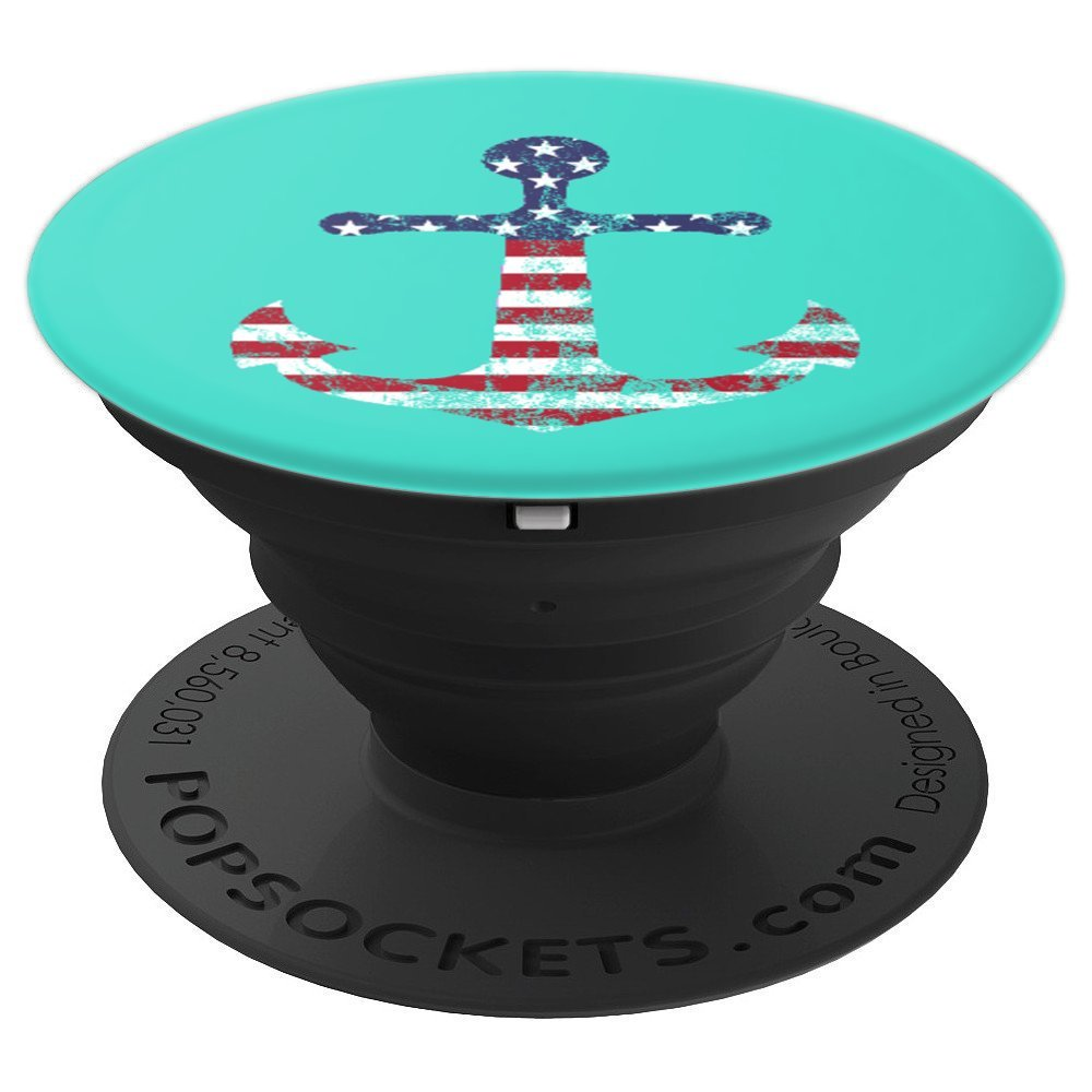 Weathered American Flag Nautical Sailing Anchor - PopSockets Grip and Stand for Phones and Tablets by Socket To Me