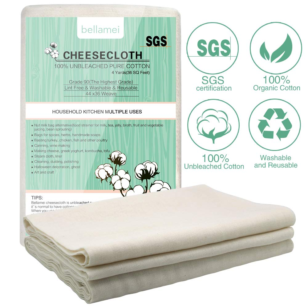 Bellamei Cheesecloth for Straining,100% Organic Unbleached Cotton Fabric, Washable and Reusable Cheese Cloth for Cooking Filter Nut Milk Fruit Juice Yogurt Vegetables Oil Bag Grade 90 36SQ 4 Yards