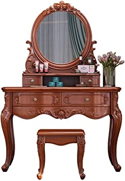 Vanity Set Table Dresser Wood Cherry Finish Seat White Mirror Vintage Drawer New