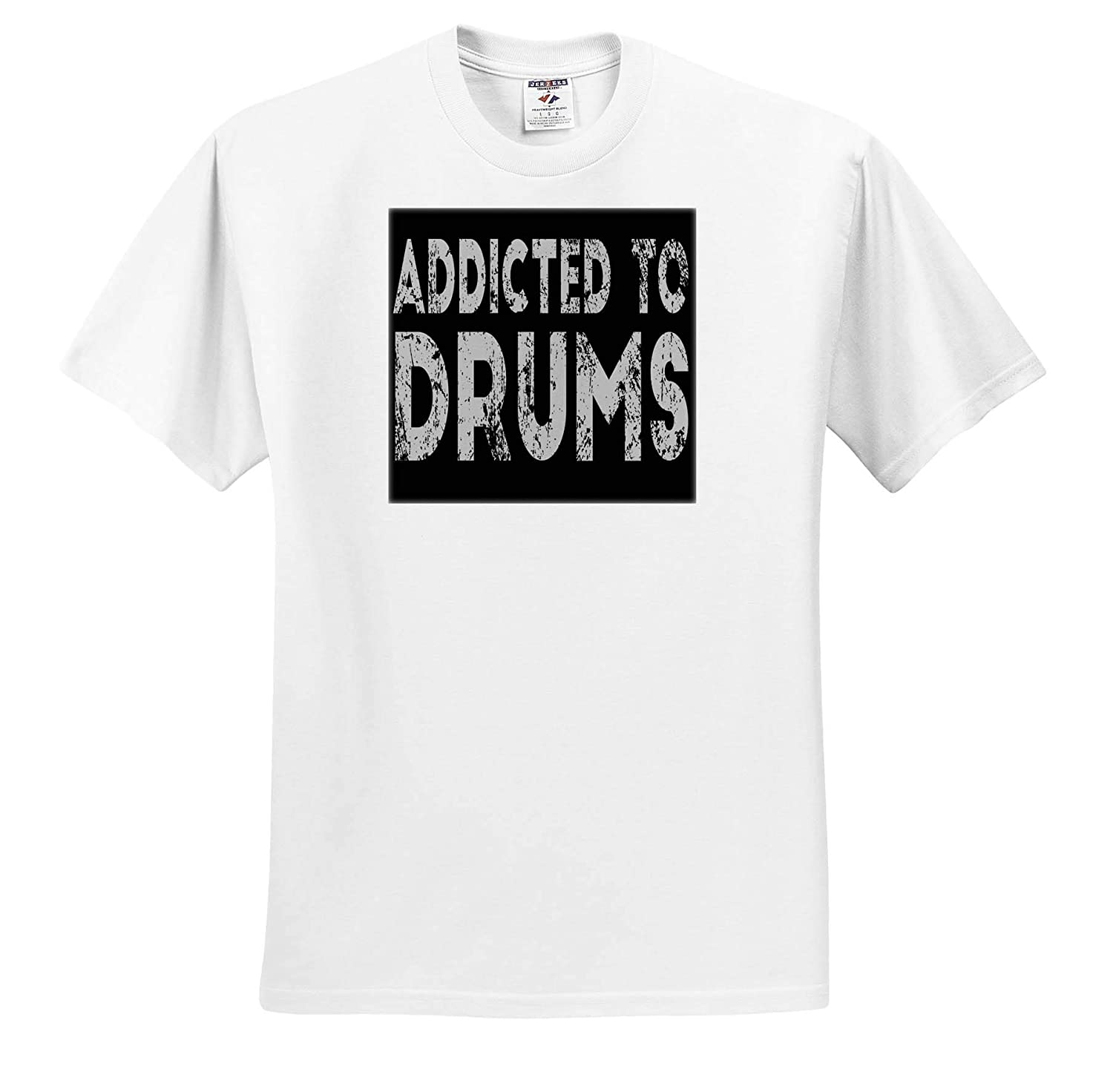ts/_319225 Addicted to Drums 3dRose Anne Marie Baugh Adult T-Shirt XL Quotes and Sayings