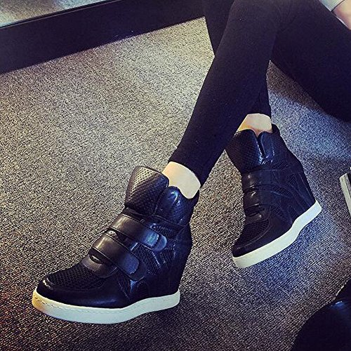 Fashion Black Sneakers PP Top Hidden Leather Wedges Heel Women's Formal Casual High dPPaqCwHv