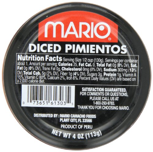 Mario Camacho Diced Pimientos, 4-Ounce Jars (Pack of 12)