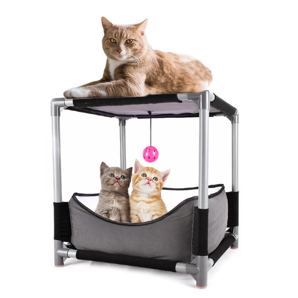 SHZONS Cat House Bed, DIY Pet Sofa Cat Sleeping Bag,Removable Jumping Board Cat Bed Toy Steel Claw Sleeper with Hanging Ball Pet Supplies