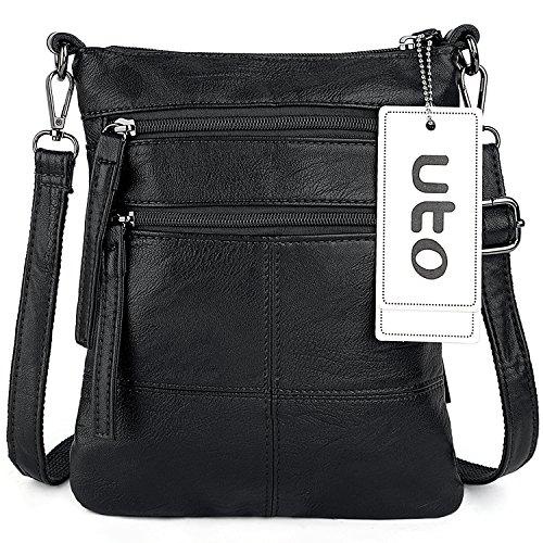 Bag 361 UTO Tablet for Multi Messenger Body Leather black Cross Cellphone Shoulder Women Bags Pockets PU Computer Casual Black Bag rwUwqWSYAx