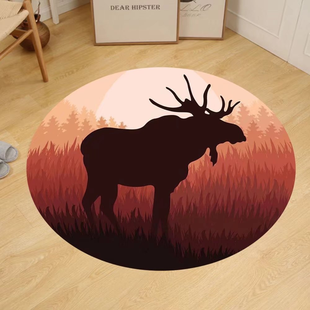 Gzhihine Custom round floor mat Moose Antlers in Wild Alaska Forest Rusty Red Abstract Landscape Design Deer Theme Woods Print Bedroom Living Room Dorm Decor Peach and Dark Brown