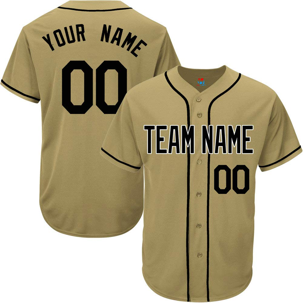 Gold Custom Baseball Jersey for Men Game Embroidered Team Player Name & Numbers,Black Size 3XL by Pullonsy