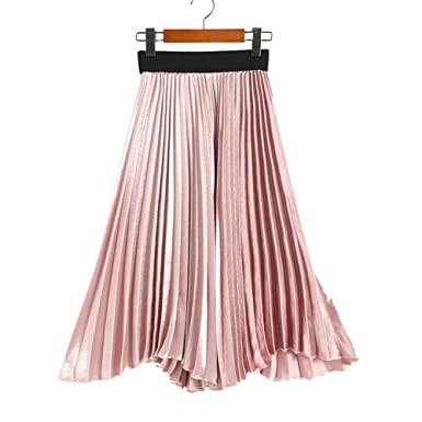 98b6a8f0e JCNCE Spring Metallic Satin Long Pleated Skirts Elastic Irregular Hem  Mid-calf Pleated Autumn Skirts