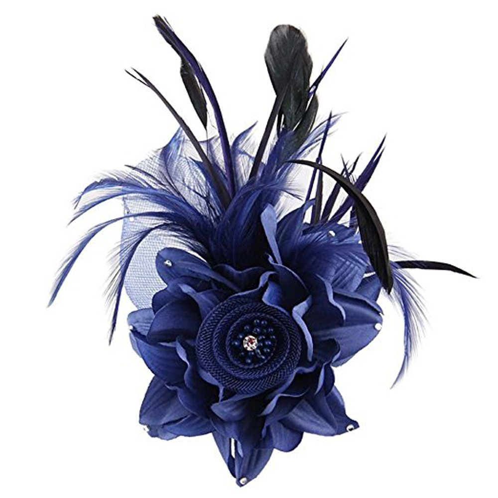Hilary Ella Charming Mesh Feather Hair Clip Women Girls Hairpin Cocktail Party Flower Barrette Fascinator Hat Black One Size