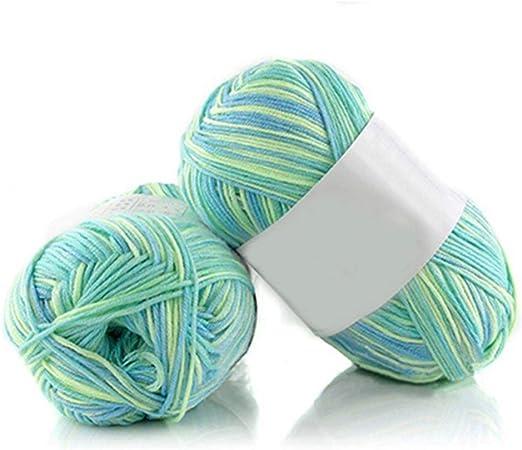 Qingsb- Ovillo de lana de bambú suave, 50 g por madeja, 1 pieza #27 Verde&Azul&Amarillo: Amazon.es: Hogar