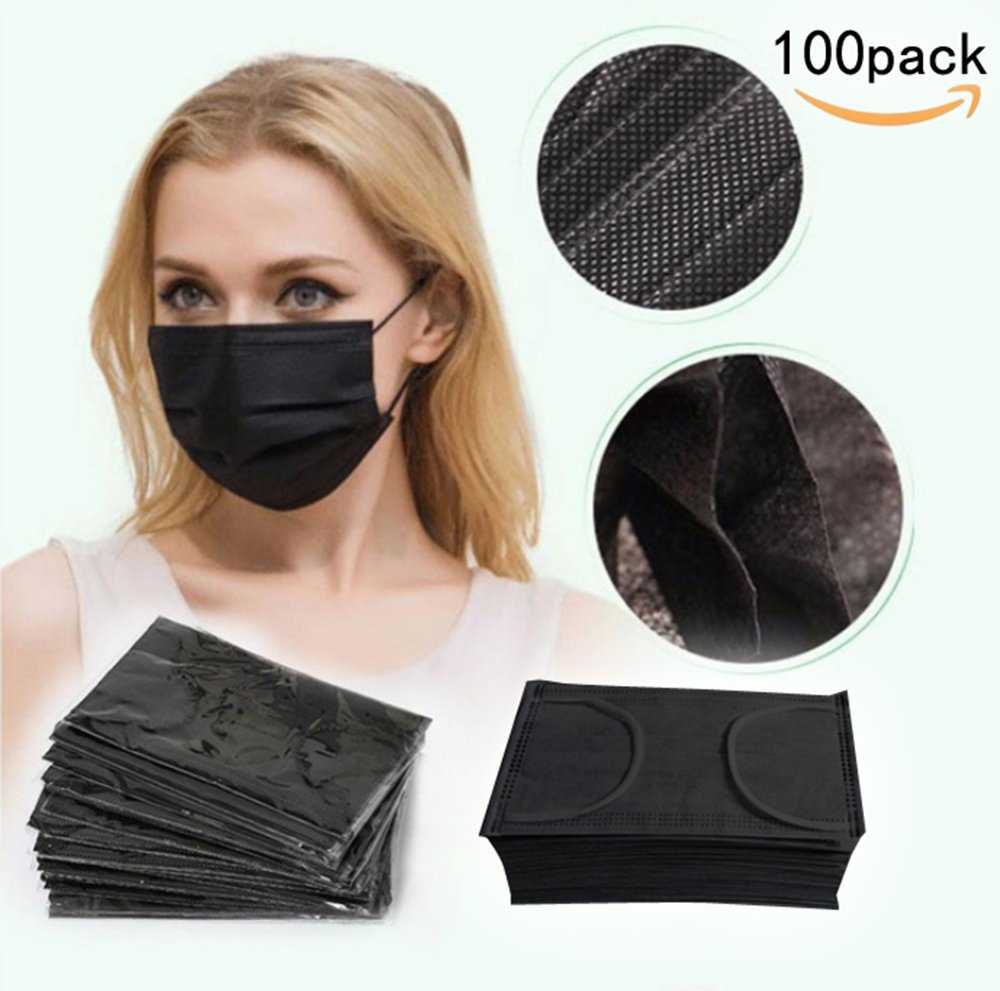 JKLcom Black Disposable Face Mask Face Mask Medical Black Earloop Face Mask Non-woven 4 Layer Disposable Face Mask Filter Mouth Cover Mask for Medical, Dental, Nail Salons,Surgical,Pack of 100
