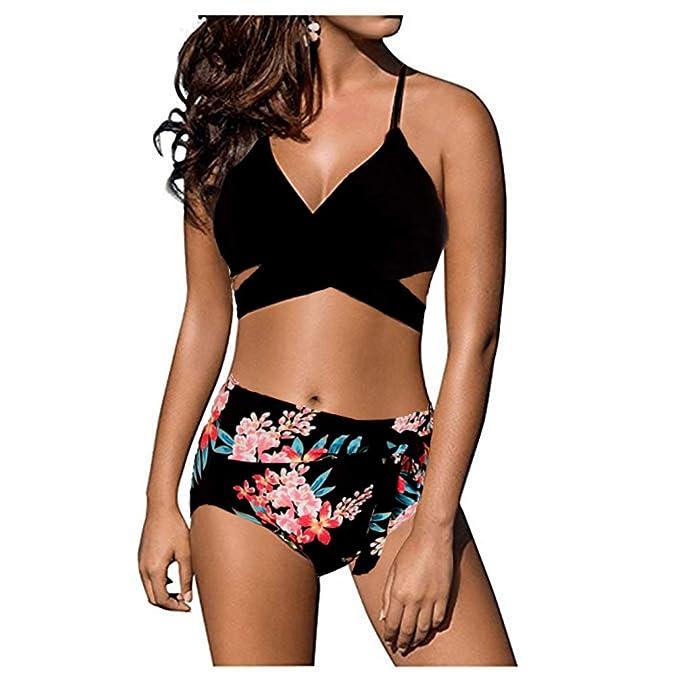 226ee2b9da Amazon.com: Marosoniy Womens Teen Fashion Floral Printing Cross Wrap  Bandage Halter Bikini Set Bathing Suits Two Pieces Swimsuit: Clothing