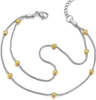 COOLSTEELANDBEYOND Acciaio Inossidabile Due Ranghi Doppia Catena Cavigliera da Donna con Palla Charms Oro e Argento