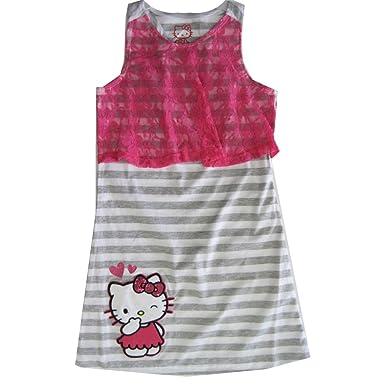 0c7c9487b Hello Kitty Little Girls Fuchsia Grey Striped Lace Applique Dress 4