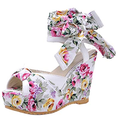 Amazoncom Taoffen Women Fashion Peep Toe Floral Wedges High Heel