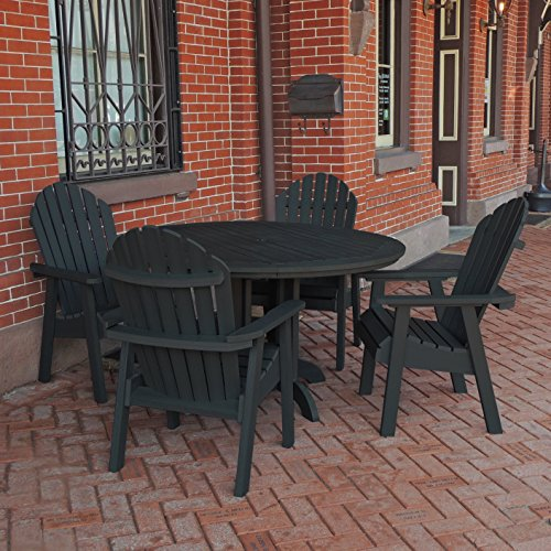 Highwood 5 Piece Hamilton Round Dining Set, Toffee (Adirondack 48 Inch Bench)
