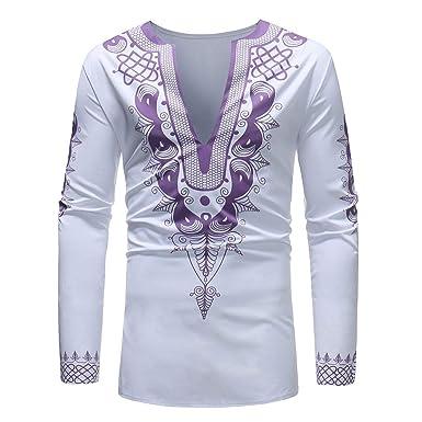 LONUPAZZ Chemise Homme Slim Fit Casual Imprimé Africain Dashiki à Manches  Longues T-Shirt Pullover 86697ed1943