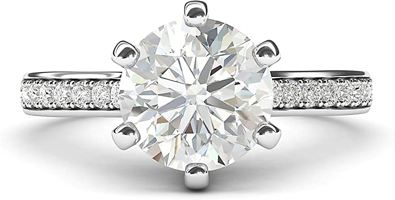 10k White Gold 2 Carats Classic 6-Prong Simulated Diamond Engagement Ring with Side Stones Promise Bridal Ring