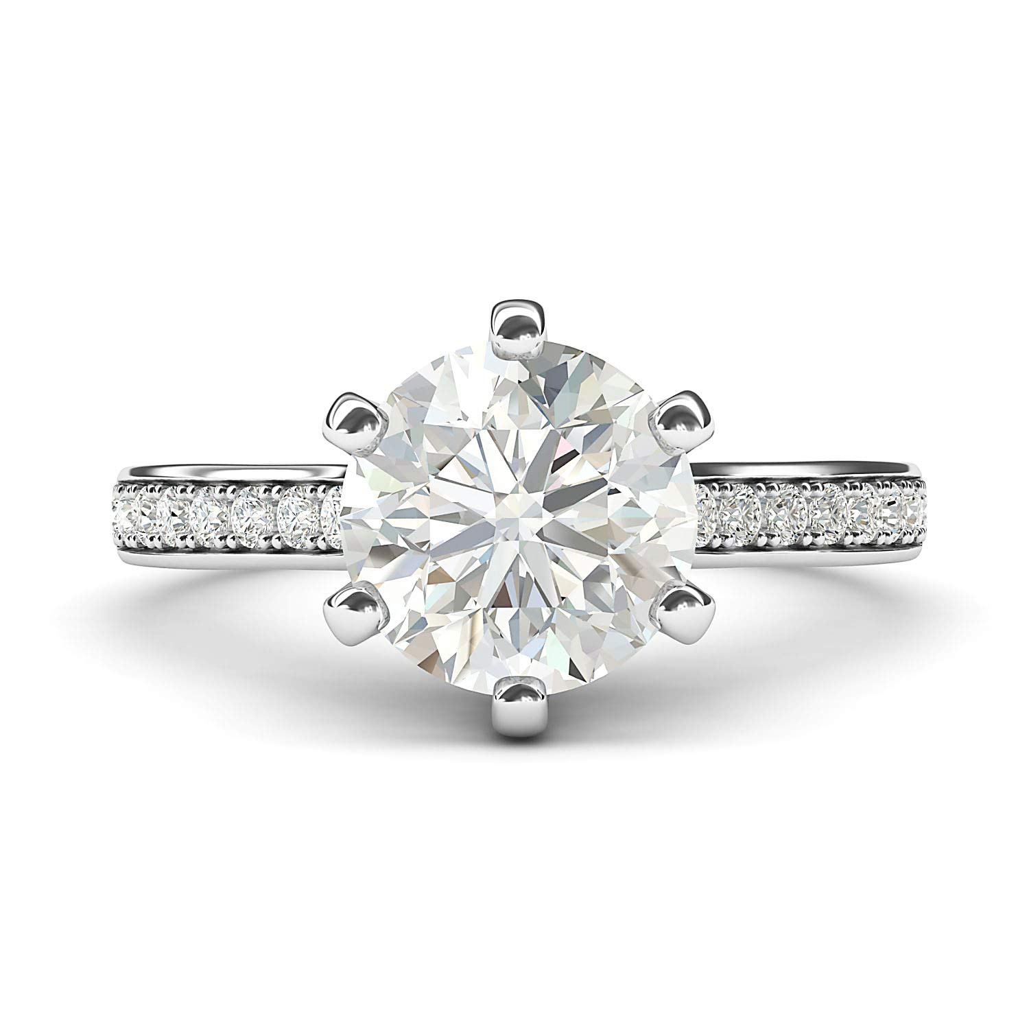 14k White Gold 2 Carats Classic 6-Prong Simulated Diamond Engagement Ring with Side Stones Promise Bridal Ring (7)