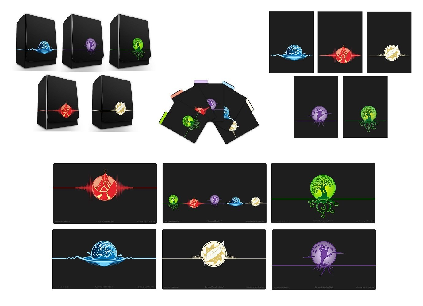 Max-Pro 6 Playmats + ALL 5 ICONIC ELEMENTAL Symbol DECK BOXES Divider Set + 500 SLEEVES ( 100 of each design) fits MTG Mana FORCE OF WILL Pokemon