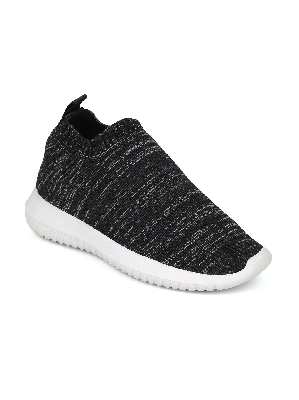 Alrisco Women Fabric Low Top Sock Jogger Sneaker HF89 - Black (Size: 6.0)