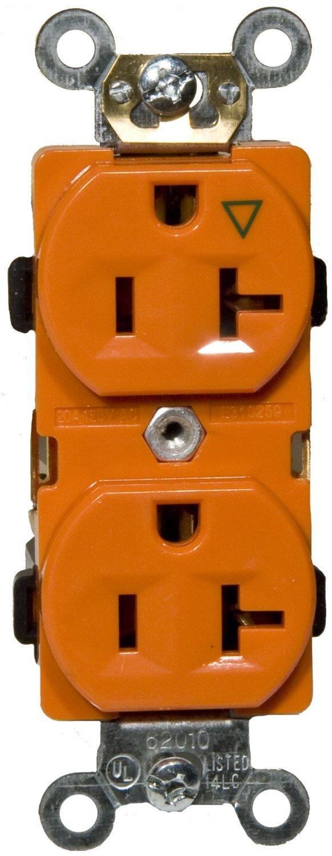 Morris 82164 Isolated Ground Duplex Receptacle 125V Orange Morris Products 20 Amp Current