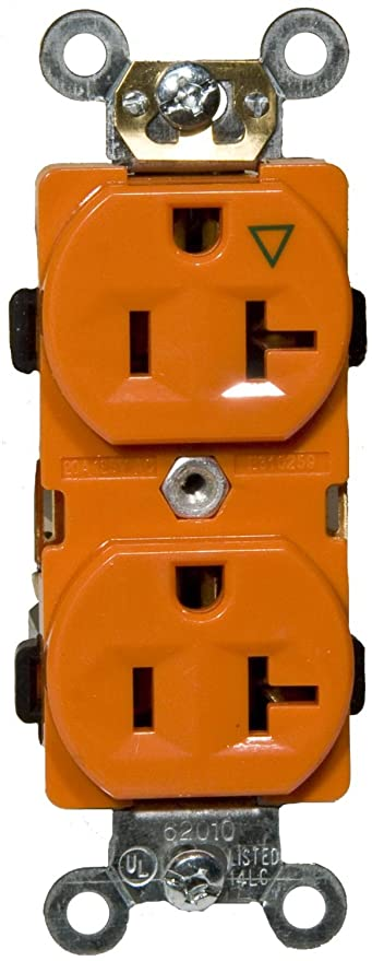 Amazon Com 20a Isolated Ground Duplex Receptacle In Orange Set Of