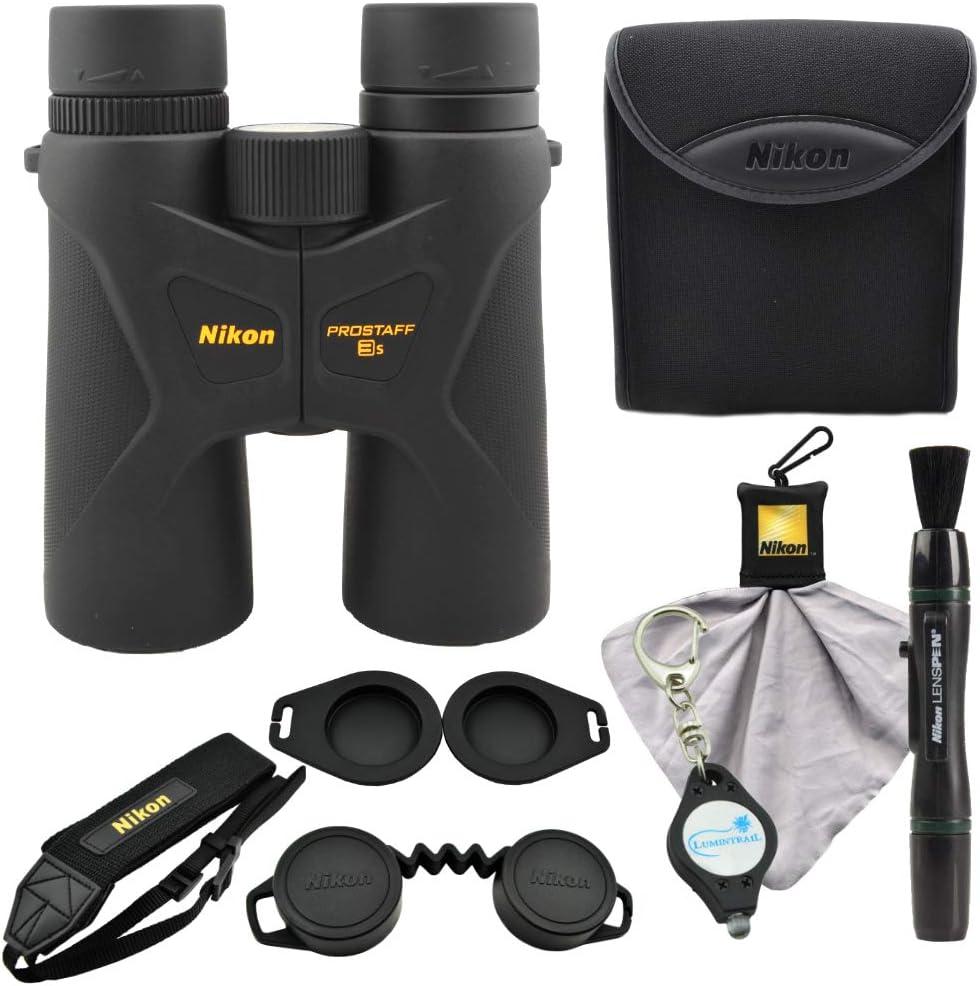 Nikon Prostaff 3S 10×42 Binoculars, Black 16031 Bundle with a Nikon Lens Pen, Cleaning Cloth and Lumintrail Keychain Light