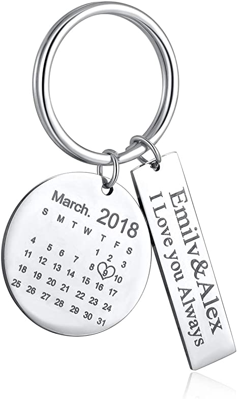 Personalised Photo /& Text Engraved Rectangle Keyring Valentine/'s Day Gift