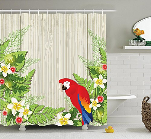 [Parrots Decor Shower Curtain Set Tropic Flowers And African Parrot In Summer GardenWooden Wall Ferns Decorative Art Bathroom Accessories Cream Green] (Parrot Costume Ebay)