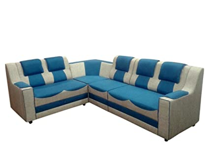 Froster oak sofa Wood and Fabric 6 Seater L-Shaped Sofa-Set ...