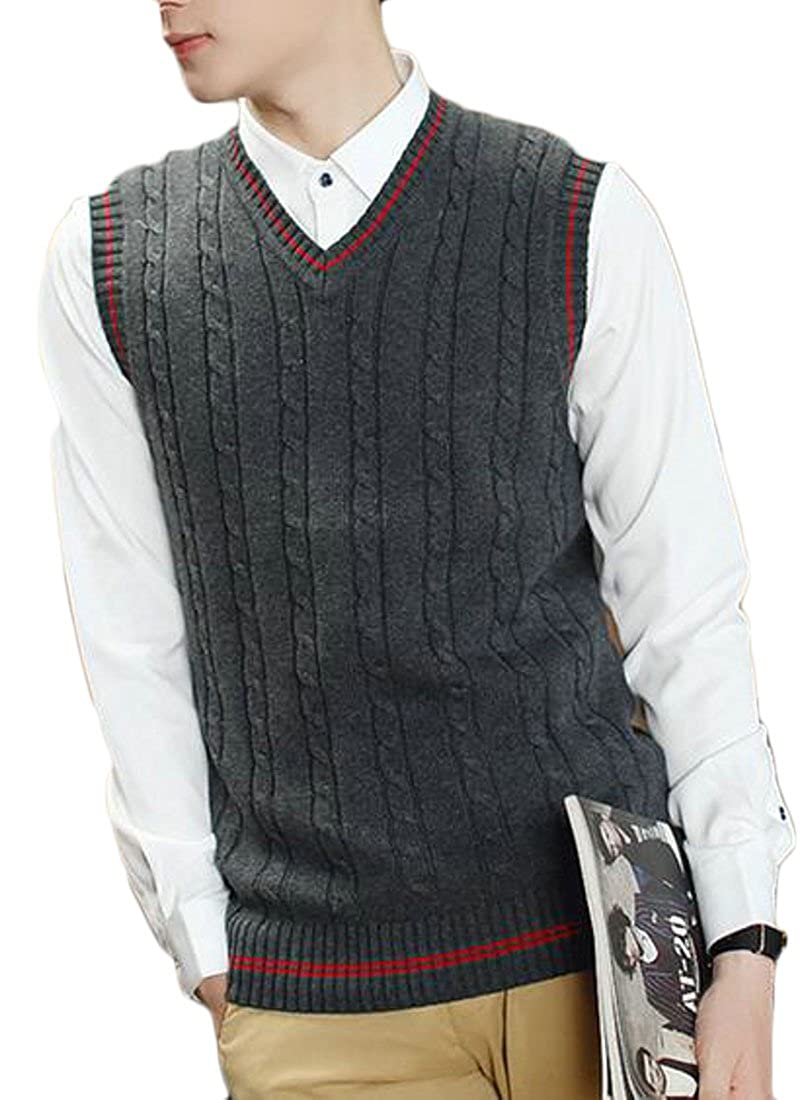 Pandapang Men Casual Knit Autumn Pullover Contrast Color V Neck Sleeveless Sweater Vest