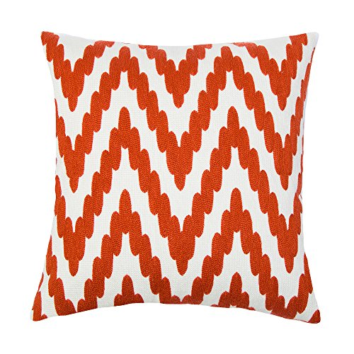 SLOW COW Cotton Decor Accent Throw Pillow Cover Embroidery Zig Zag Pattern Cushion Cover, 18 x 18 inch. 1 Zig Zag Sewing Machine