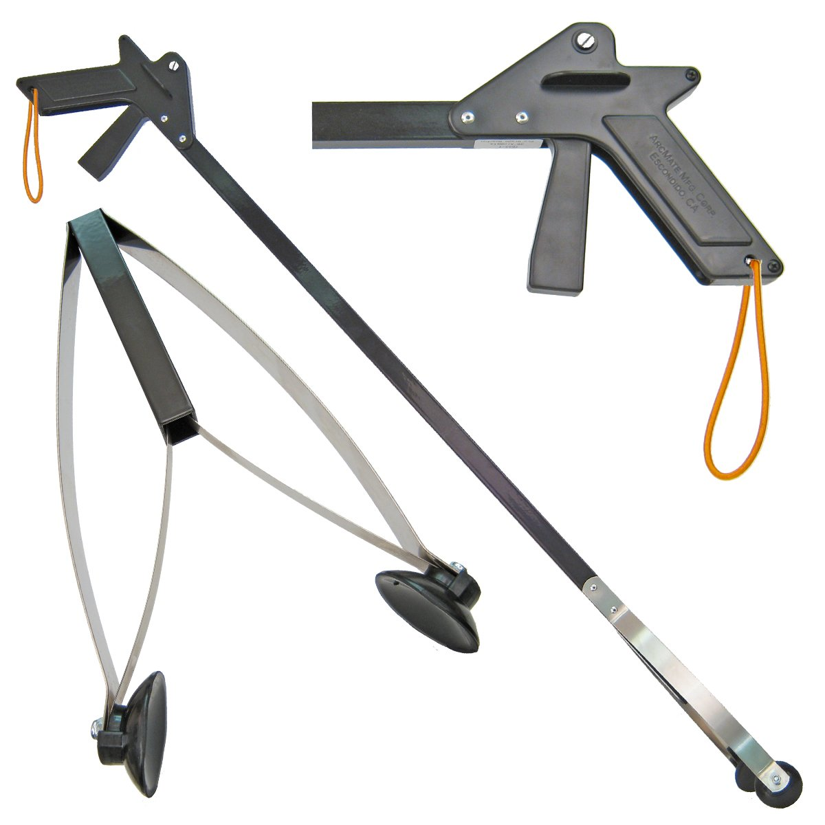ArcMate KingTongs – Professional Grade Rubber Cup Reacher Grabber with Locking Grip and Larger Handle, Outdoor and Commercial Use, 4.25 Wide Jaw, 8lb. Pick Up Capacity, Black, 44 7849