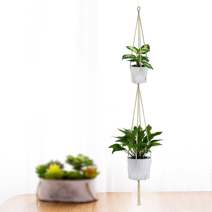 Support de pot en corde à suspendre macramé pour pot de fleurs par ...