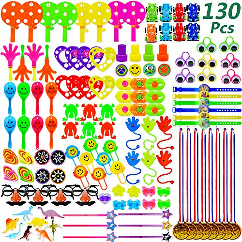 BUDI 130 Pack Party Favors for Kids Pinata Filler Toys Goodie Bags Toys for Birtyday Party Class Prizes Treasure Box Carnival Prizes for Kids ()
