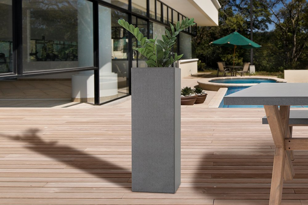 Design Säule CEMENT 100cm In- und Outdoor Pflanzkübel Beton-Optik ...