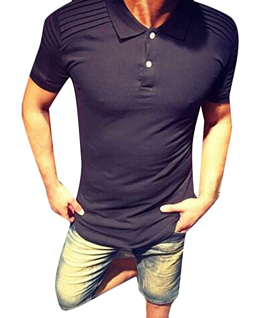 d4fc66bc Fubotevic Men T-Shirt Solid Long Sleeve Regular Fit Ruched Casual Business  Golf Polo Shirt at Amazon Men's Clothing store: