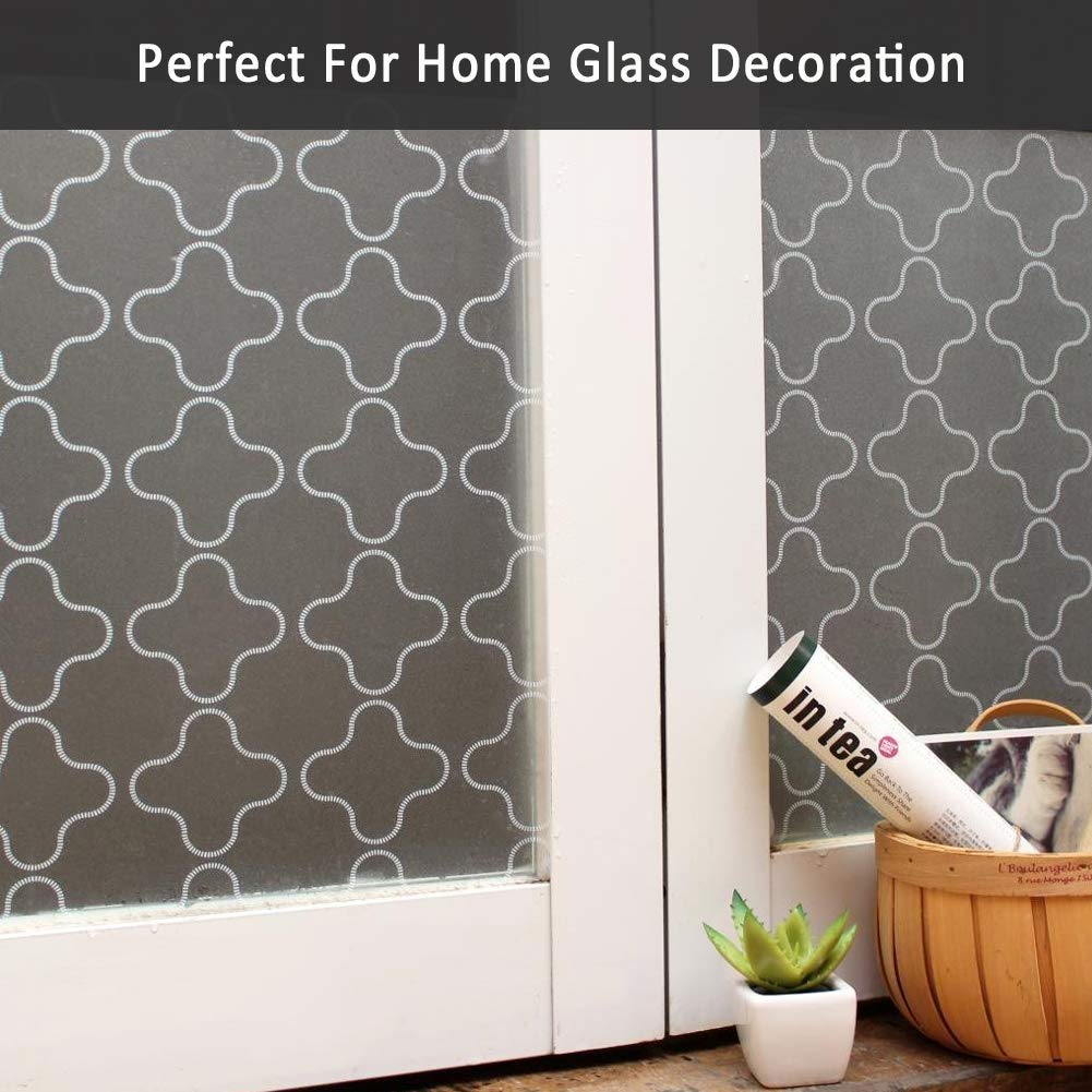 Frosted Window Cling Static Cling Glass Film Decorative Door Film//Removable//Heat Control//Anti UV//Vinyl for Office and Home Decoration,35In Mikomer Non Adhesive Privacy Window Film by 78.7In.