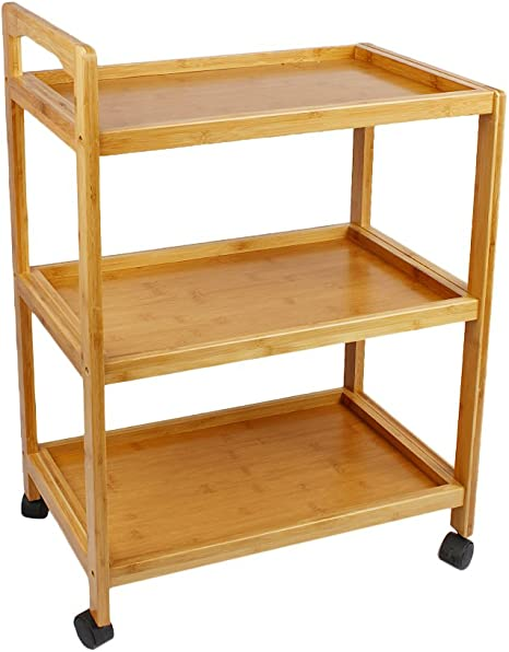 Woodluv Bamboo 3 Tier Kitchen Storage Serving Trolley Island Cart with Wheels
