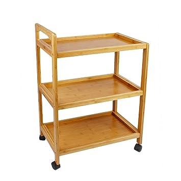 Woodluv - Carrito de cocina/servicio con 3 bandejas y ruedas, hecho de bambú: Amazon.es: Hogar