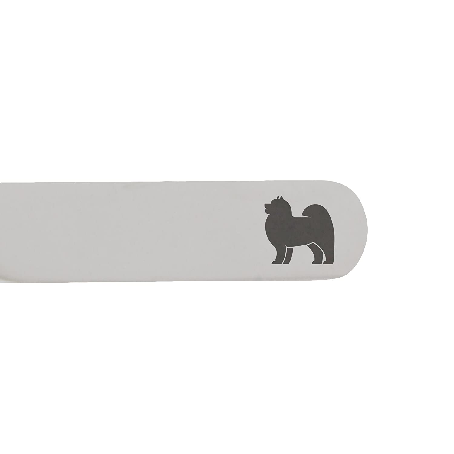 Made In USA MODERN GOODS SHOP Stainless Steel Collar Stays With Laser Engraved Samoyed Design 2.5 Inch Metal Collar Stiffeners