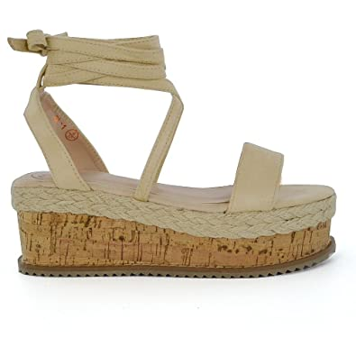 cc9fdbabc7b ESSEX GLAM Women s Lace Up Wedge Heel Peep Toe Nude Faux Suede Espadrille  Flatform Sandals 5