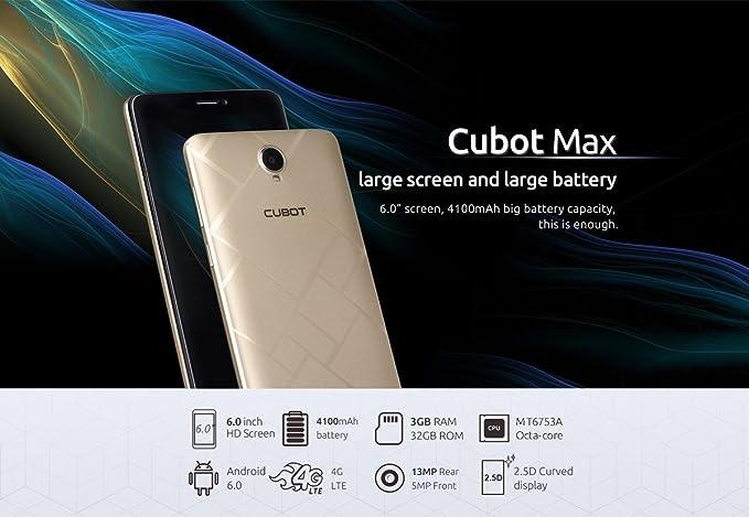 CUBOT MAX - 4G Smartphone Libre Android 6.0 (Pantalla HD 6.0