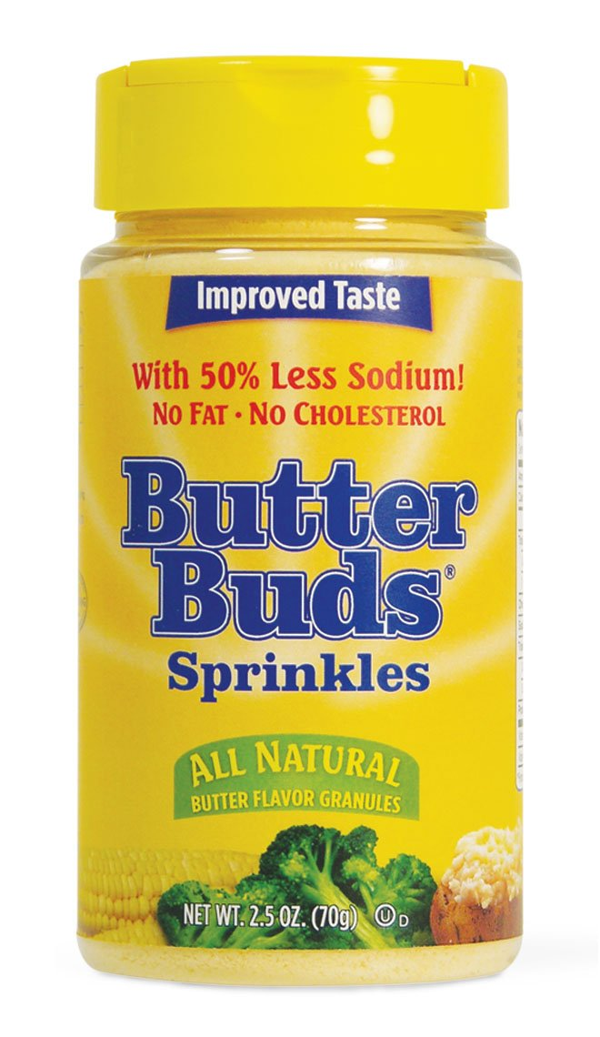 Butter Buds, Butter Flavored Sprinkle Granules, Butter Substitute, 2.5 Ounce, 12 Pack