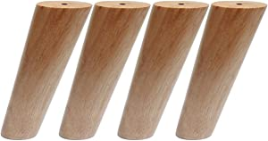 Sweet Melodi Round Solid Wood Furniture Legs Sofa Replacement Legs Perfect for Mid-Century Modern/Great IKEA hack for Sofa, Couch, Bed, Coffee Table (5 Inches,Set of 4, Original Wood Color)